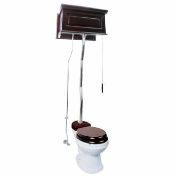 Dark Oak High Tank Z-Pipe Toilet Round White Bowl 20164grid