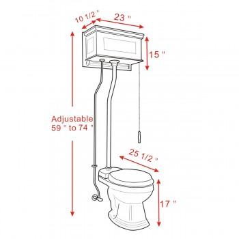 spec-<PRE>Dark Oak High Tank Z-Pipe Pull Chain Toilet Round White Bowl </PRE>