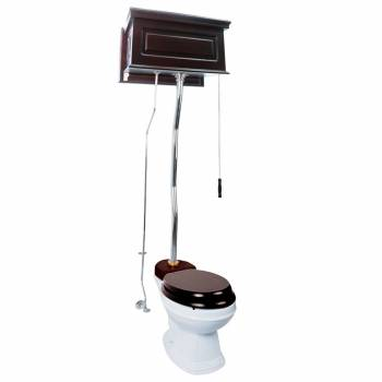 Dark Oak Finish  Raised Panel High Tank Z-Pipe  Pull Chain Elongated Toilet - Chrome