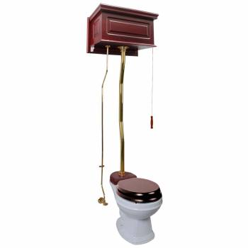 Cherry High Tank Z-Pipe Toilet Round White Bowl  20168grid