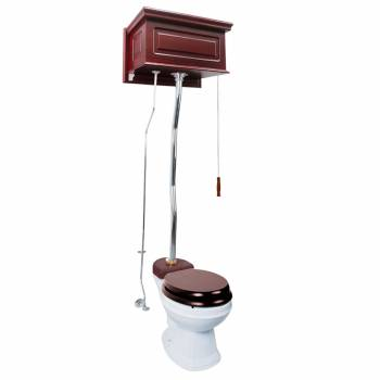 Cherry Wood High Tank Pull Chain Toilet With White China Round Toilet Bowl20171grid
