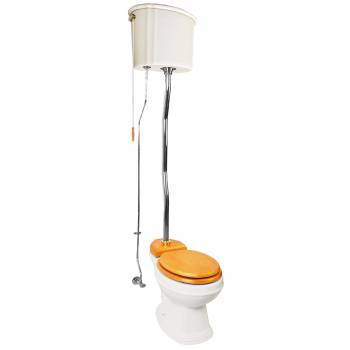 Biscuit High Tank Toilet, Round Bowl, Chrome Z-Pipe  20177grid