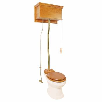 Light Oak High Tank Z-Pipe Toilet Elongated Biscuit Bowl 20188grid