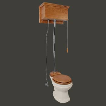 <PRE>Light Oak High Tank Z-Pipe Toilet Round Biscuit Bowl </PRE>zoom2