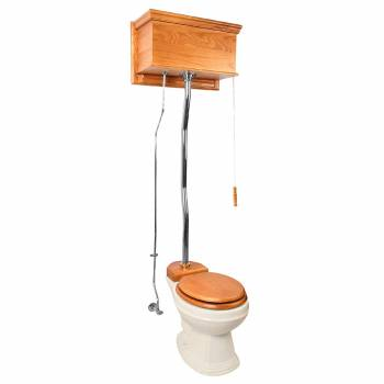 Light Oak High Tank Z-Pipe Toilet Round Biscuit Bowl 20189grid