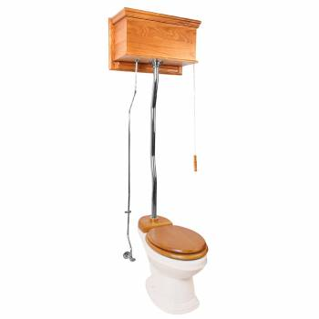 Light Oak Chrome High Tank Pull Chain Toilet Biscuit Elongated Toilet Bowl 20192grid
