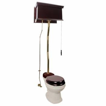 Dark Oak High Tank Z-Pipe Toilet Round Biscuit Bowl 20193grid