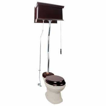 Dark Oak Finish  Flat Panel High Tank Z-Pipe  Pull Chain Elongated Toilet - Chrome