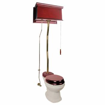 Cherry Finish  Flat Panel High Tank Z-Pipe  Pull Chain Round Toilet - Brass PVD