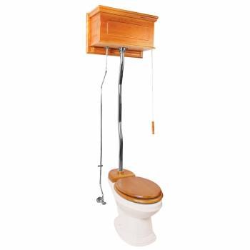 Light Oak Overhead High Tank Pull Chain Toilet Biscuit Porcelain Elongated Bowl20204grid