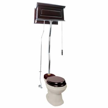 Dark Oak High Tank Pull Chain Toilet Raised Round Toilet Bowl And Z-Pipe20208grid