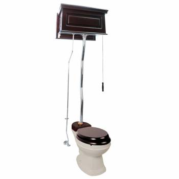 Dark Oak High Tank Z-Pipe Toilet Elongated Biscuit Bowl  20211grid