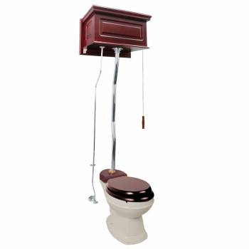 Cherry Finish  Raised Panel High Tank Z-Pipe  Pull Chain Elongated Toilet - Chrome