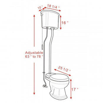 spec-<PRE>Black High Tank Toilet, Round Bowl, Brass Z-Pipe </PRE>