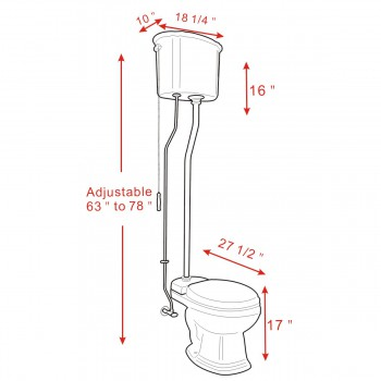 spec-<PRE>Black High Tank Toilet, Elongated Bowl, Brass Z-Pipe  </PRE>