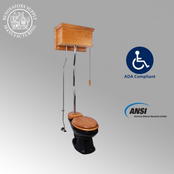 <PRE>Light Oak Flat Panel High Tank Pull Chain Toilet Black Elongated Toilet</PRE>zoom2