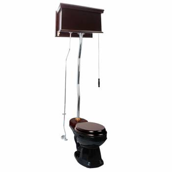 Dark Oak High Tank Z-Pipe Toilet Round Black Bowl 20234grid