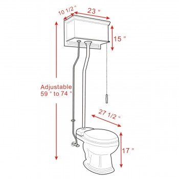 spec-<PRE>Cherry Wood Flat Panel Overhead High Tank Pull Chain Toilet Black Elongated Bowl</PRE>