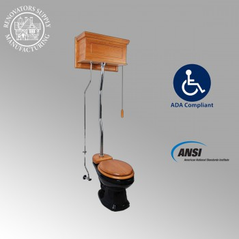 Toilets - Light Oak Finish  Raised Panel High Tank Z-Pipe  Pull Chain Elongated Toilet - Chrome by the Renovator's Supply