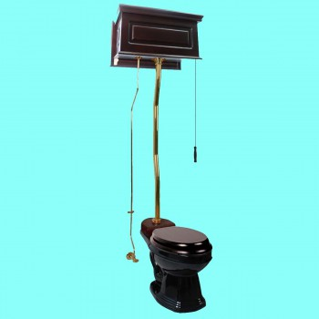 Dark Oak High Tank ZPipe Pull Chain Black Elongated Toilet High Tank Pull Chain Toilets Elongated Bowl High Tank Toilet Old Fashioned Toilet