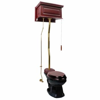 Cherry Finish  Raised Panel High Tank Z-Pipe  Pull Chain Elongated Toilet - Brass PVD