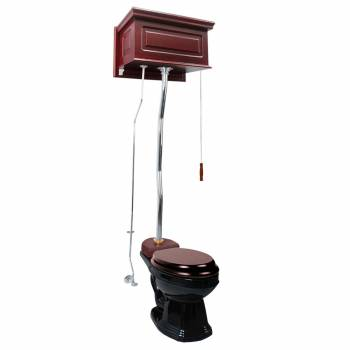 Cherry Wood High Tank Pull Chain Toilet With Black China Elongated Toilet Bowl20254grid