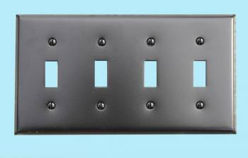 spec-<PRE>Switchplate Black Steel Four Toggle Classic </PRE>
