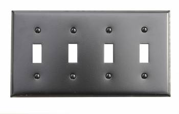 Switchplate Black Steel Four Toggle Classic 20322grid