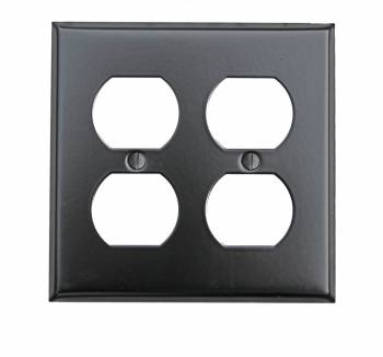 Switchplate Black Steel Double Outlet 20323grid