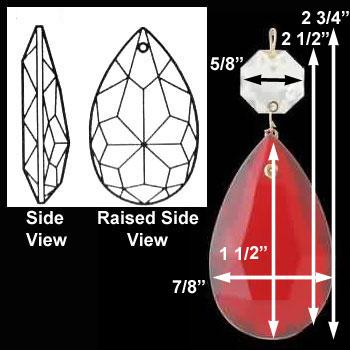 """spec-<PRE>Prisms Red Glass  1/2""""H </PRE>"""