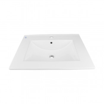 Bathroom Drop-in Self-Rimming Square White Porcelain Sink Single Faucet Hole 20336grid