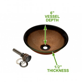 spec-<PRE>Tempered Glass Vessel Sink with Drain, Gold Color with Black Rim Round Bowl Sink</PRE>