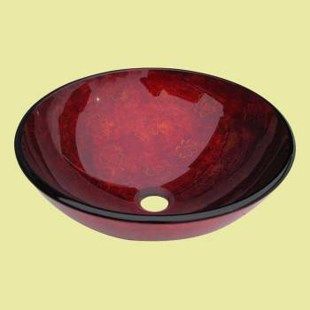 <PRE>Tempered Glass Vessel Sink with Drain, Rose Red Hand Painted Round Bowl Sink </PRE>