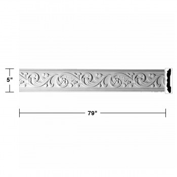 spec-<PRE>Crown Molding White Urethane Catherine Wheel Ornate </PRE>