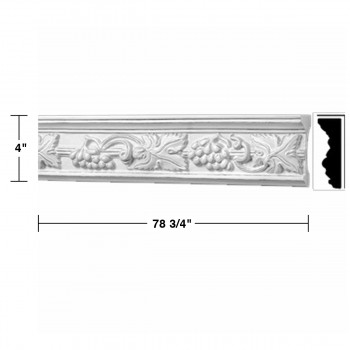spec-<PRE>Crown Molding Whte Urethane Rhineland Ornate </PRE>