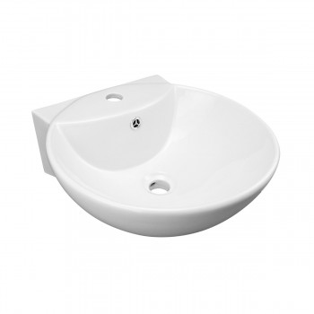 White Wall-Mount Small Sink Easy Clean and Install20490grid