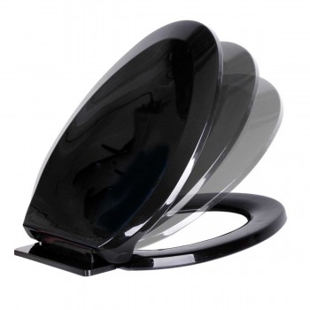 No Slam Toilet Seat Easy Close Black Plastic Elongated