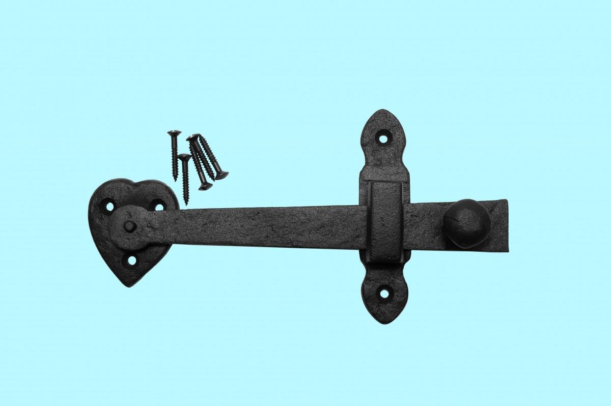 Door gate latch set black wrought iron quot h w