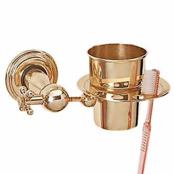<PRE>Bright Brass Toothbrush Holder Brush Cup Tumbler Holder </PRE>