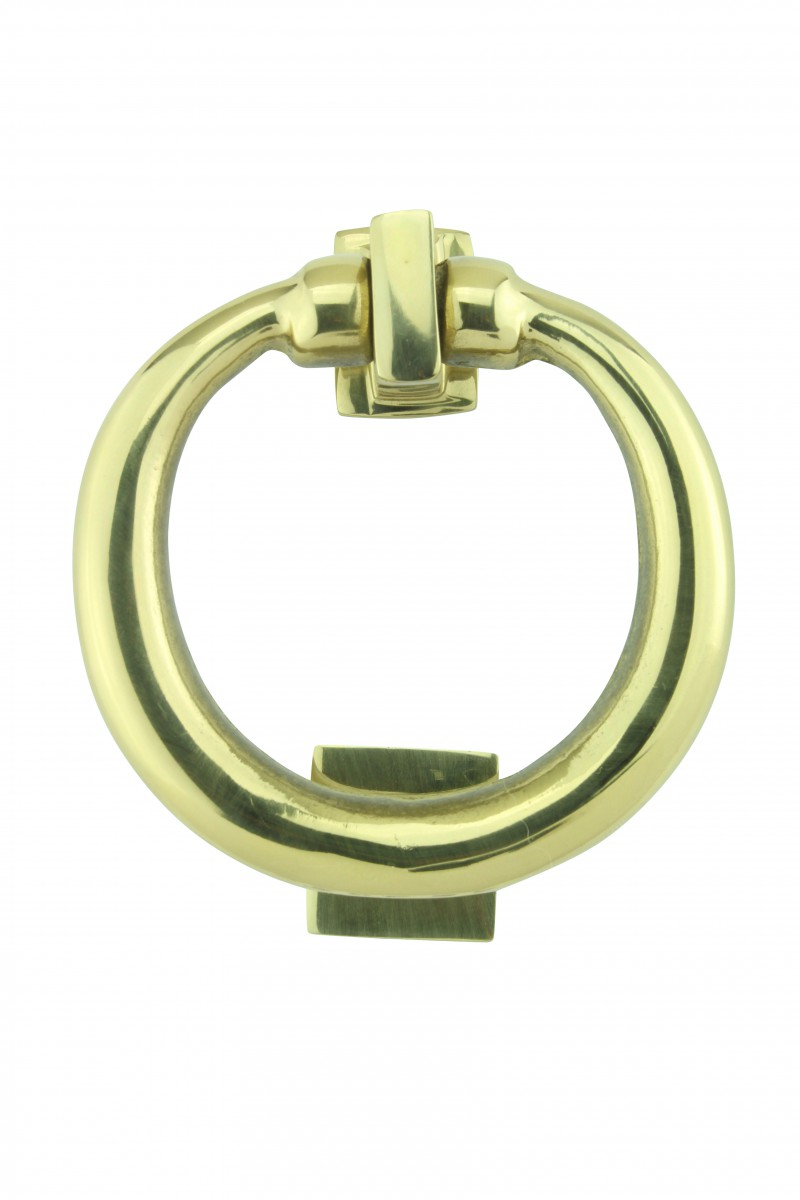 H X; U003cPREu003eSolid Brass Ring Door Knocker 4 1/2 Inch.