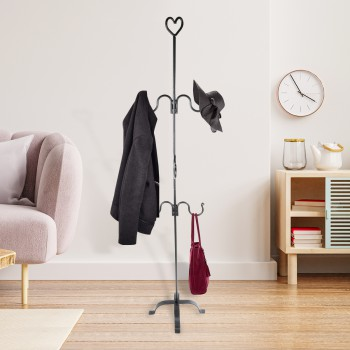 Christmas Stocking Holder Black Wrought Iron with 6 Hooks Renovators Supply Free Standing Christmas Stocking Holder Freestanding Decorative Holiday XMass Stockings Metal Stand Hanger Decor Mantle