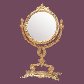 <PRE>Victorian Antique Vanity Mirror Cast Brass 12 1/4&quot; H </PRE>