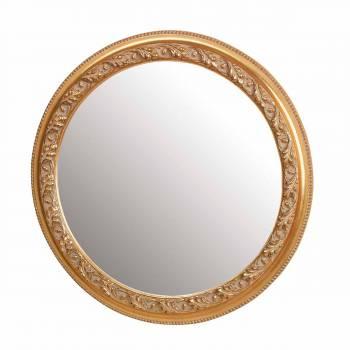 Vintage Vanity Mirror Gold Wood Round Frame 20619grid