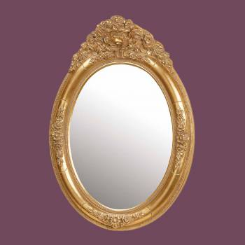 <PRE>Antique Vanity Mirror Gold Oval Wood Frame </PRE>