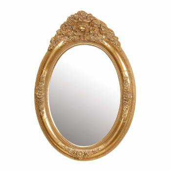 Antique Vanity Mirror Gold Oval Wood Frame 20620grid
