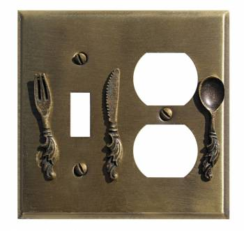Kitchen Switchplate Antique Silver Brass Toggle/Outlet 20661grid