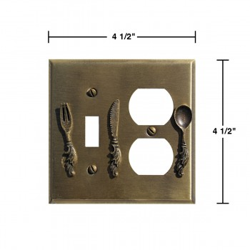 spec-<PRE>Kitchen Switchplate Antique Silver Brass Toggle/Outlet </PRE>