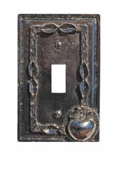 <PRE>Switchplate Antique Silver Apple Toggle </PRE>zoom1