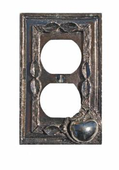 Switchplate Antique Solid Brass Apple Outlet 20667grid