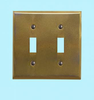 <PRE>Switchplates Antique Stainless Steel Double Toggle </PRE>zoom2